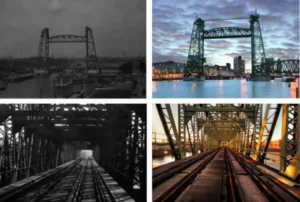 A inamovible ponte do ferrocarril de 'De Hef', na ciudad holandesa de Rotterdam. Á esquerda dous fotogramas de 'De brug', en 1927. Á dereita o coloso de aceiro na actualidade