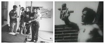 A la izquierda, Helena Lumbreras durante sus estudios de cine en el Centro Sperimentale Cinematografico, en 1964. A la derecha, Mariano Lisa con la Bólex Paillard con la que el Colectivo de Cine de Clase filmó 'El campo para el hombre'