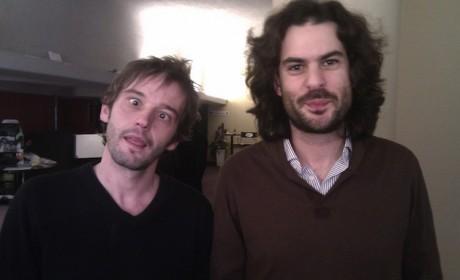 Alberto Gracia (esquerda) e Felipe Lage (dereita) momentos antes da presentación do filme en Róterdam.