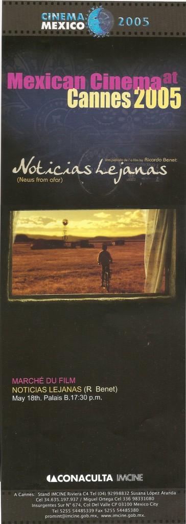 Catálogo para Cannes del año en que se estrenó 'Noticias lejanas'.