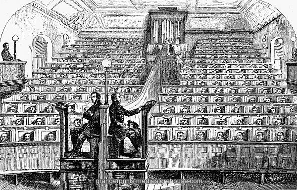 PENTONVILLE PRISON. /nThe prisoners' chapel at Pentonville Prison, England. Wood engraving, English, 19th century.