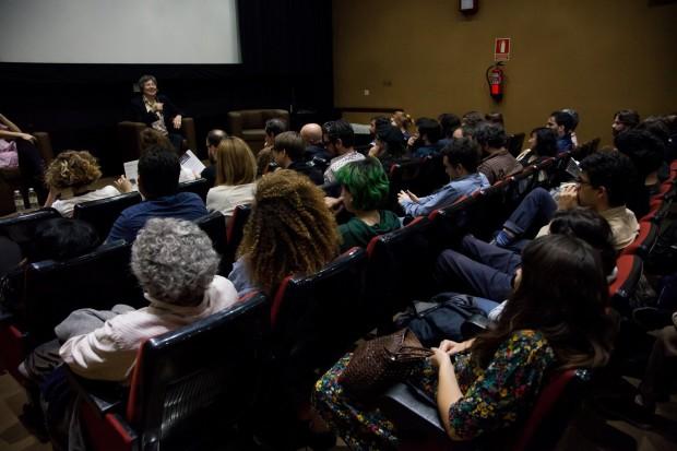 Friedl vom Gröller presentando os seus filmes no CGAI. Foto: María Meseguer