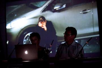 Cristina Álvarez e Adrian Martin no seminario que impartiron en Curtocircuíto no 2014