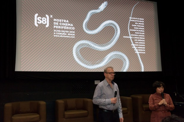 Bill Brand xunto con Elena Duque no (S8) Mostra de Cinema Periférico. Fotografía: María Meseguer